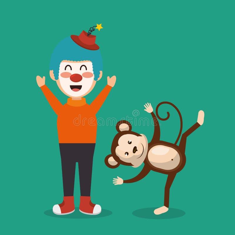 Το τσίρκο πιθήκων και κλόουν παρουσιάζει απεικόνιση αποθεμάτων