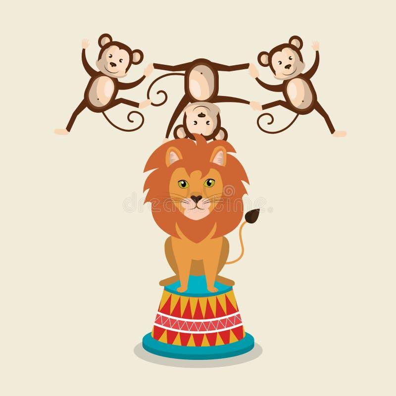 Το τσίρκο πιθήκων και λιονταριών παρουσιάζει διανυσματική απεικόνιση