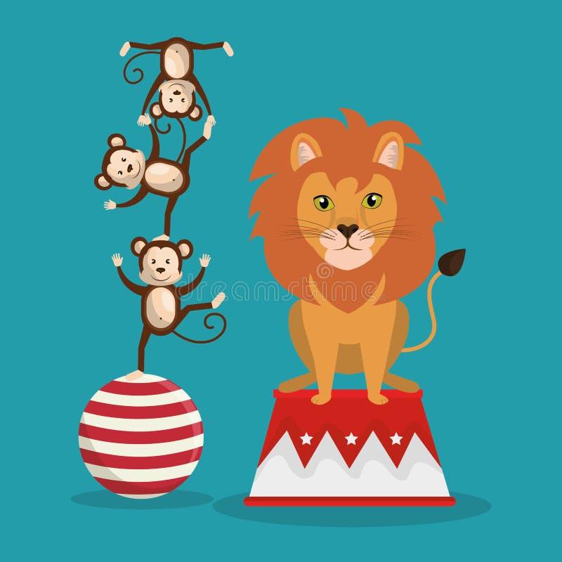 Το τσίρκο πιθήκων και λιονταριών παρουσιάζει ελεύθερη απεικόνιση δικαιώματος
