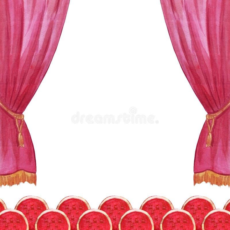 Το τσίρκο watercolor κουρτινών σκηνής, θέατρο, παρουσιάζει, συμφωνεί χέρι απεικόνισης που σύρεται διανυσματική απεικόνιση
