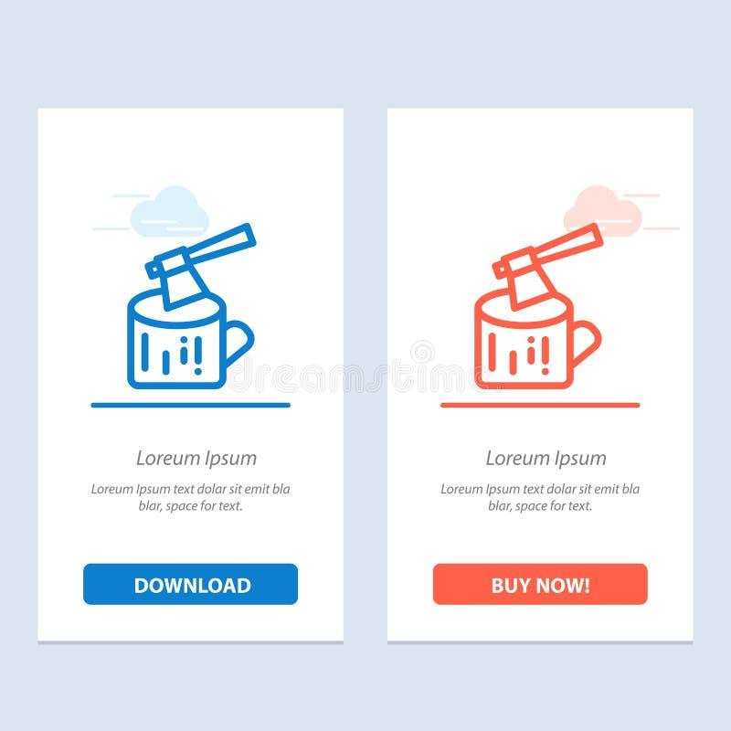 Το τσεκούρι, το κούτσουρο, η ξυλεία, ξύλινοι μπλε και το κόκκινο μεταφορτώνουν και αγοράζουν τώρα το πρότυπο καρτών Widget Ιστού διανυσματική απεικόνιση