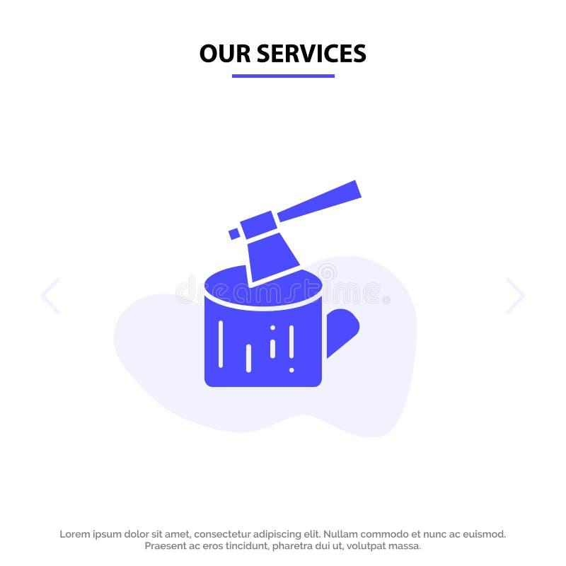 Το τσεκούρι υπηρεσιών μας, κούτσουρο, ξυλεία, ξύλινο στερεό πρότυπο καρτών Ιστού εικονιδίων Glyph ελεύθερη απεικόνιση δικαιώματος