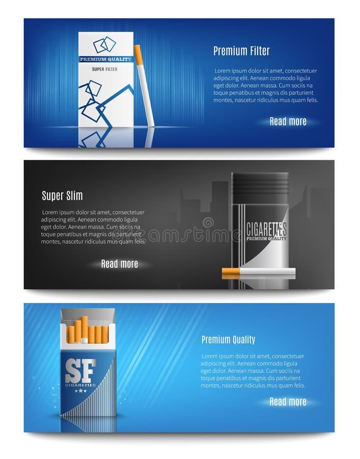 Το τσιγάρο συσκευάζει τα ρεαλιστικά εμβλήματα απεικόνιση αποθεμάτων
