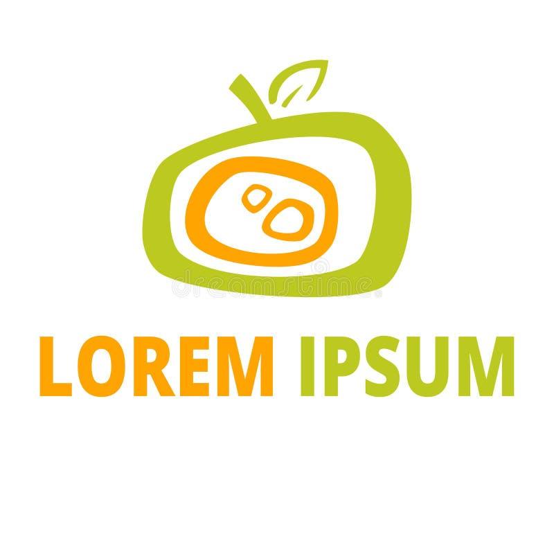 Το τυποποιημένο αφηρημένο σημάδι μήλων απομόνωσε το διάνυσμα, σύμβολο του μήλου, φρέσκα τρόφιμα λογότυπων φρούτων διανυσματική απεικόνιση