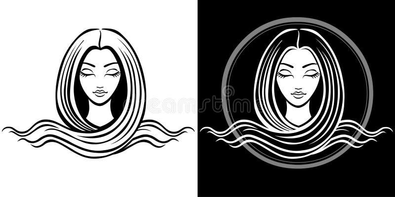 Το τυποποιημένο πορτρέτο του νέου όμορφου κοριτσιού με μακρυμάλλη Το γραμμικό απομονωμένο σχέδιο διανυσματική απεικόνιση