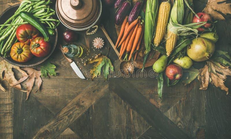 Το υγιές μαγειρεύοντας υπόβαθρο πτώσης, αντιγράφει τη διαστημική, ευρεία σύνθεση στοκ εικόνες