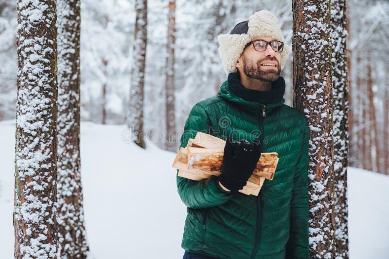 Το υπαίθριο πορτρέτο του χαμογελώντας αρσενικού στέκεται κοντά στο δέντρο που καλύπτεται με το χιόνι, κρατά το καυσόξυλο, φαίνετα στοκ εικόνες