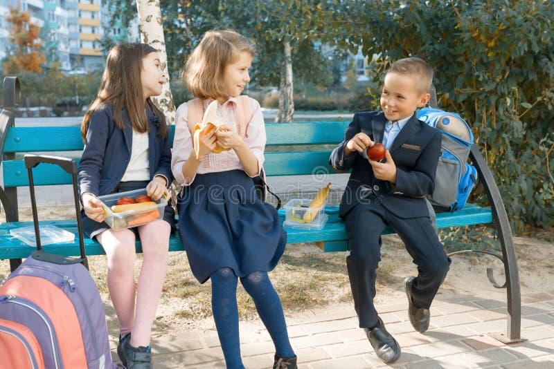 Το υπαίθριο πορτρέτο των σπουδαστών δημοτικών σχολείων με τα καλαθάκια με φαγητό, υγιή παιδιά σχολικών προγευμάτων τρώει, μιλά, γ στοκ εικόνα
