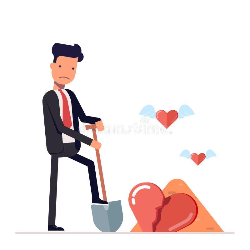 Το λυπημένο άτομο σκάβει μια σπασμένη καρδιά επιχειρηματίας ή διευθυντής με το φτυάρι Χαρακτήρας κινουμένων σχεδίων στο επίπεδο ύ απεικόνιση αποθεμάτων
