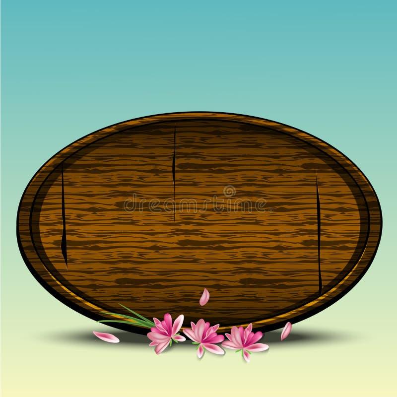 Το υπόβαθρο άνοιξη με το ρεαλιστικά ξύλινα στρογγυλά σημάδι και το μήλο μορφής ανθίζει, ζωηρόχρωμο έμβλημα για την πώληση Πάσχας  απεικόνιση αποθεμάτων