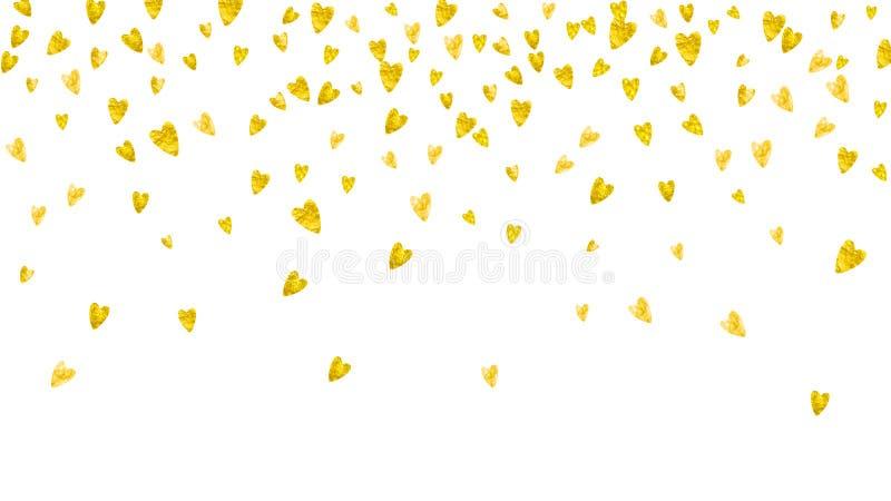 Το υπόβαθρο βαλεντίνων με το χρυσό ακτινοβολεί καρδιές 14 Φεβρουαρίου ημέρα διανυσματική απεικόνιση