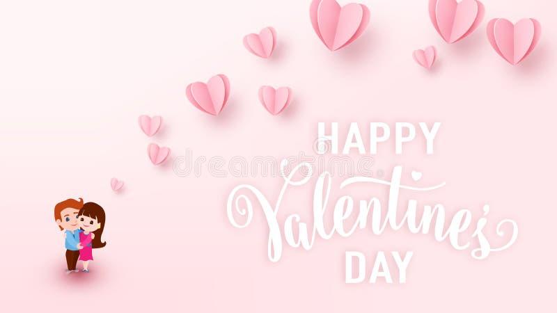 Το υπόβαθρο ημέρας βαλεντίνων με τις ανοικτό ροζ καρδιές εγγράφου, το λευκό σημάδι κειμένων και το αγόρι και το κορίτσι ζευγών αγ απεικόνιση αποθεμάτων