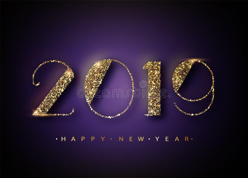 2019 το υπόβαθρο καλής χρονιάς για την εποχιακή κάρτα σας ιπτάμενων και χαιρετισμών ή τα Χριστούγεννα οι προσκλήσεις Έμβλημα με διανυσματική απεικόνιση