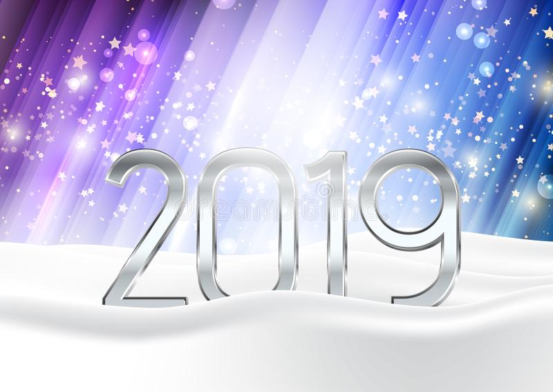 Το υπόβαθρο καλής χρονιάς με τους αριθμούς στο χιόνι απεικόνιση αποθεμάτων