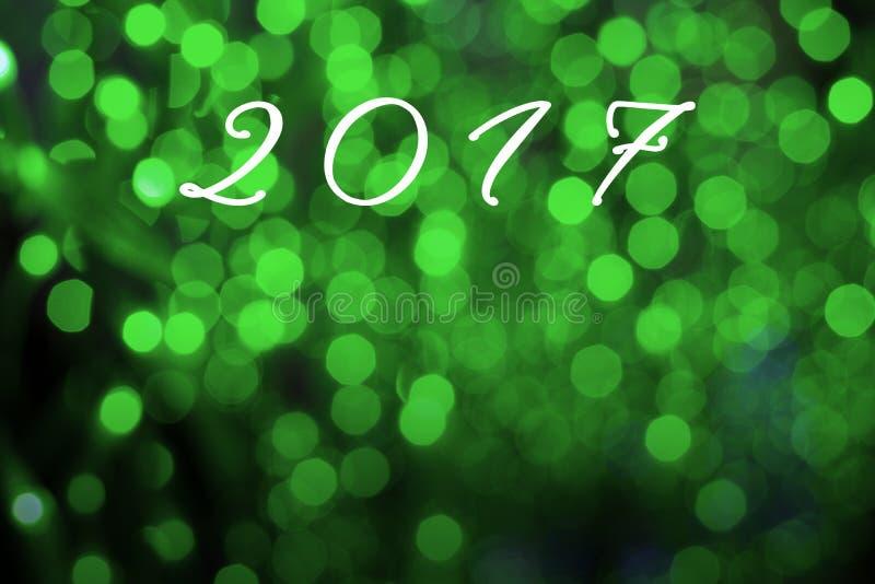 Το υπόβαθρο καλής χρονιάς λέξης 2017 στον πράσινο τόνο bokeh στοκ φωτογραφίες με δικαίωμα ελεύθερης χρήσης