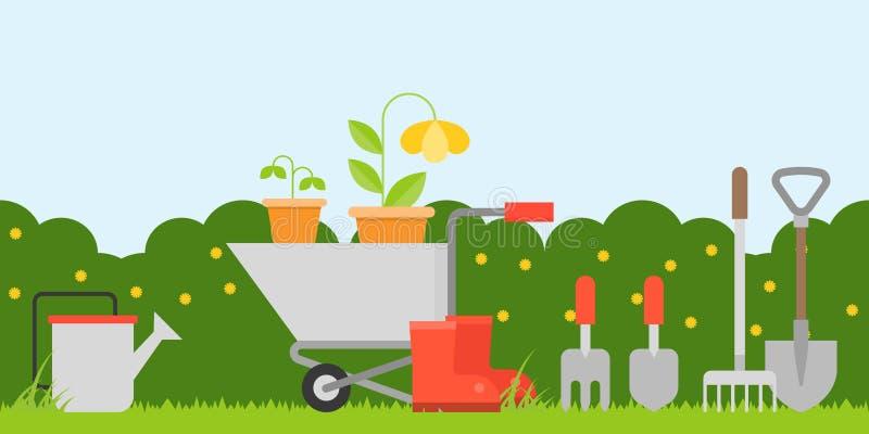 Το υπόβαθρο κηπουρικής σε επίπεδο μας σχεδιάζει ως σκηνικό, ταπετσαρία ή εκτύπωση για το δημοτικό σχολείο ή τον παιδικό σταθμό απεικόνιση αποθεμάτων