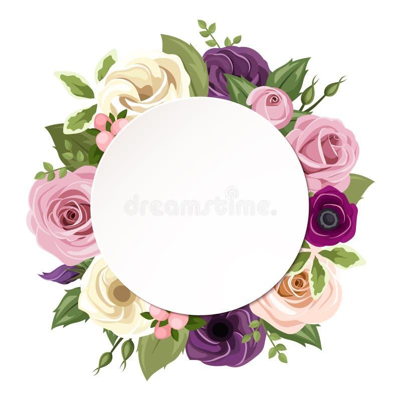 Το υπόβαθρο με τα ρόδινα, πορφυρά, πορτοκαλιά και άσπρα τριαντάφυλλα, το lisianthus και το anemone ανθίζει Διάνυσμα eps-10 ελεύθερη απεικόνιση δικαιώματος