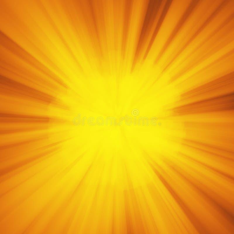 Το υπόβαθρο με την αφηρημένη έκρηξη ή οι ακτίνες Θεών ήλιων στρεβλώσεων Φωτεινή πορτοκαλιά κίτρινη ελαφριά έκρηξη λουρίδων, ακτίν διανυσματική απεικόνιση