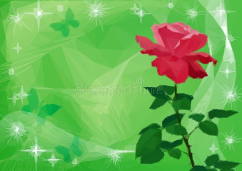 Το υπόβαθρο με το λουλούδι αυξήθηκε και πεταλούδες ελεύθερη απεικόνιση δικαιώματος