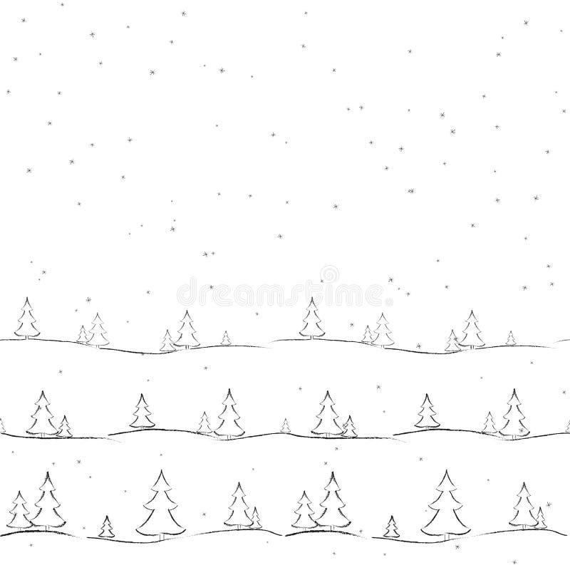 Το υπόβαθρο με fir-trees και snowflakes το hand-drawn δημιουργικό σύγχρονο υπόβαθρο για τις ταπετσαρίες καρτών εμβλημάτων καλύπτε απεικόνιση αποθεμάτων