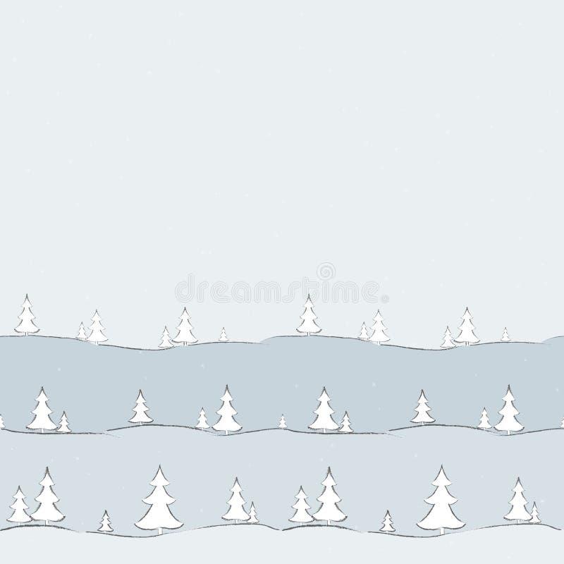 Το υπόβαθρο με fir-trees και snowflakes το hand-drawn δημιουργικό σύγχρονο υπόβαθρο για τις ταπετσαρίες καρτών εμβλημάτων καλύπτε διανυσματική απεικόνιση