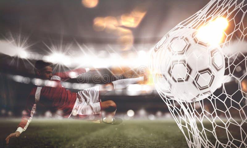 Το υπόβαθρο μιας σφαίρας ποδοσφαίρου σημειώνει έναν στόχο στο δίχτυ τρισδιάστατη απόδοση στοκ εικόνες με δικαίωμα ελεύθερης χρήσης