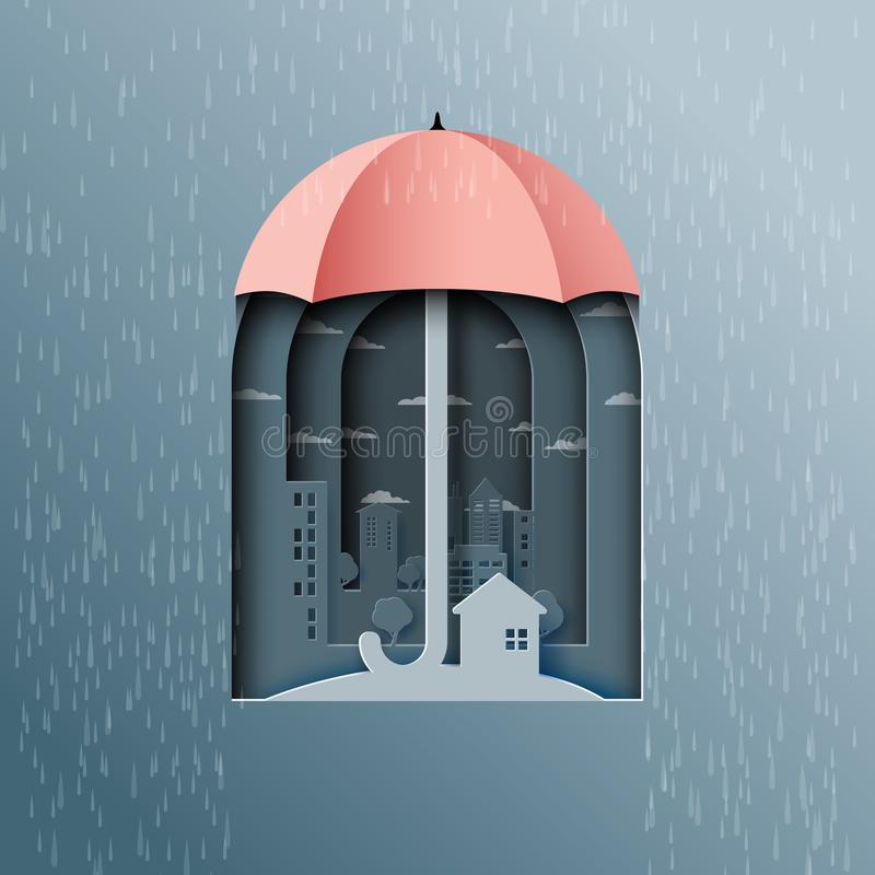 Το υπόβαθρο μουσώνα με την ομπρέλα προστατεύει την πόλη από τη βροχή απεικόνιση αποθεμάτων