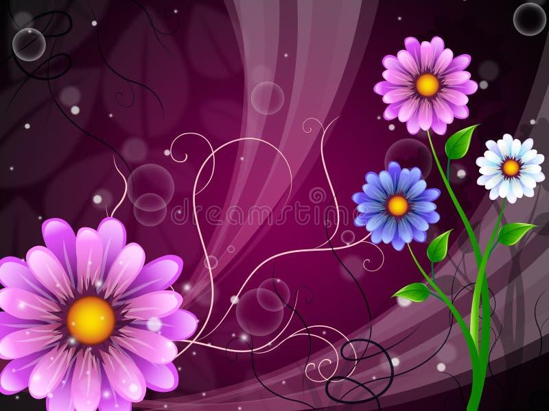Το υπόβαθρο λουλουδιών παρουσιάζει υπαίθρια να ανθίσει και φύση διανυσματική απεικόνιση