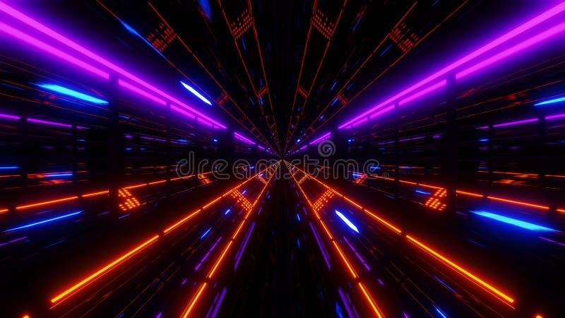 Το υπόβαθρο σηράγγων γυαλιού scifi Futuristoc με το μπλε πέταγμα μορίων τρισδιάστατο δίνει ελεύθερη απεικόνιση δικαιώματος