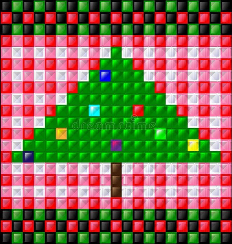 Το υπόβαθρο σχολιάζει τους κύβους και το χριστουγεννιάτικο δέντρο διανυσματική απεικόνιση