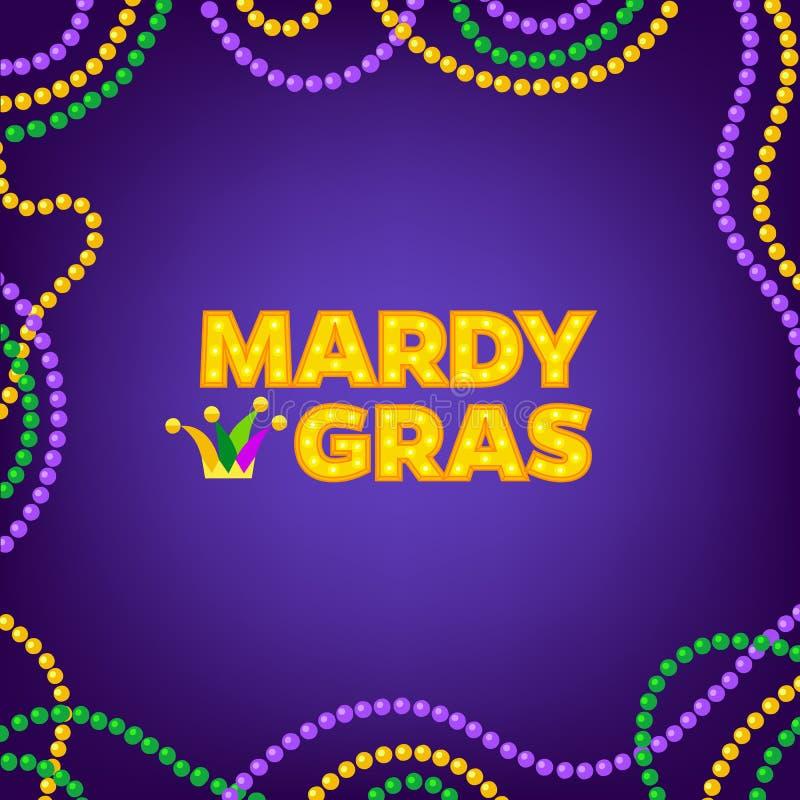 Το υπόβαθρο της Mardi Gras καρναβάλι με το colorfull διακοσμεί το πλαίσιο με χάντρες Κείμενο με Jesters το καπέλο Απεικόνιση που  απεικόνιση αποθεμάτων