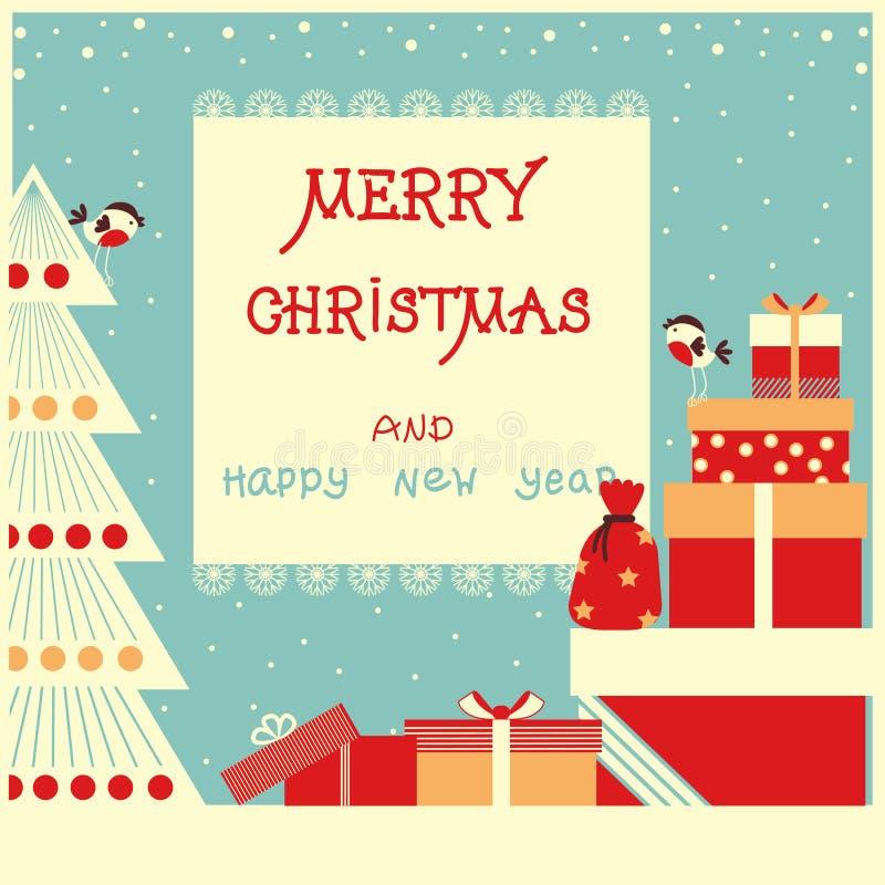 Το υπόβαθρο Χαρούμενα Χριστούγεννας με το κείμενο και τις διακοπές παρουσιάζει διανυσματική απεικόνιση