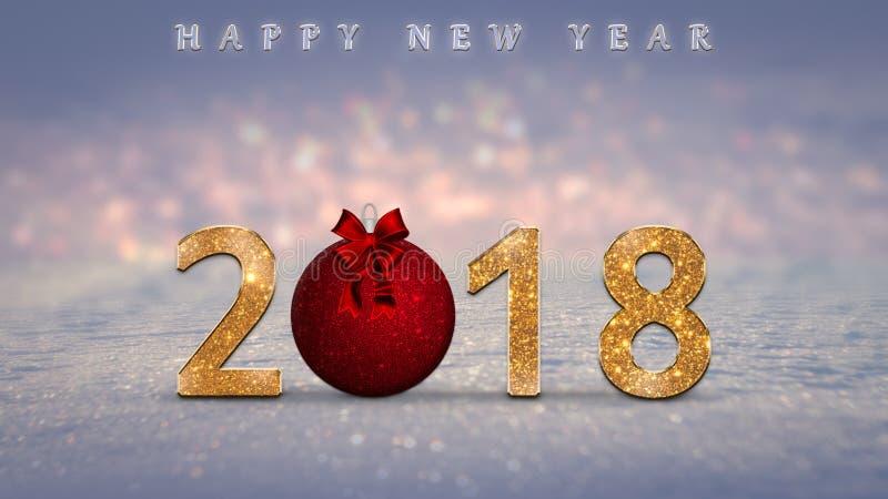 Το υπόβαθρο Χριστουγέννων, κάρτα, απεικόνιση με χρυσό, ακτινοβολεί 2018 αριθμοί, κόκκινο μπιχλιμπίδι Χριστουγέννων, σφαίρα στοκ εικόνες