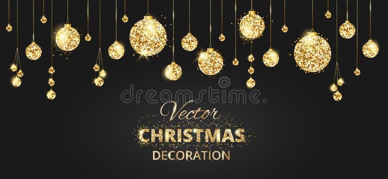 Το υπόβαθρο Χριστουγέννων με ακτινοβολεί διακόσμηση Μαύρη και χρυσή ΤΣΕ απεικόνιση αποθεμάτων
