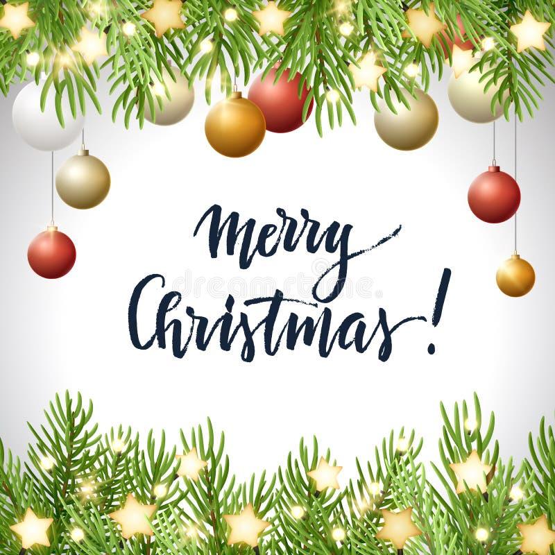 Το υπόβαθρο Χριστουγέννων με το δέντρο έλατου διακλαδίζεται, καμμένος αστέρια, σφαίρες γιρλαντών λαμπών φωτός κόκκινων και χρυσών απεικόνιση αποθεμάτων