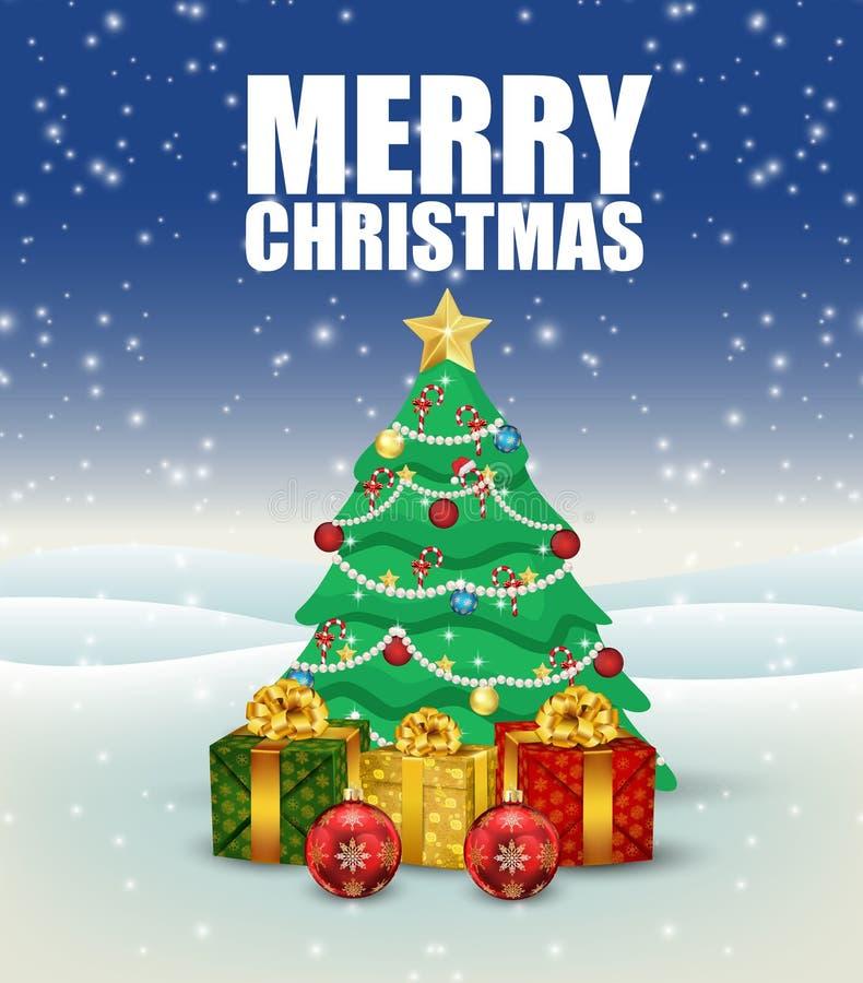 Το υπόβαθρο Χριστουγέννων με το χριστουγεννιάτικο δέντρο και παρουσιάζει απεικόνιση αποθεμάτων