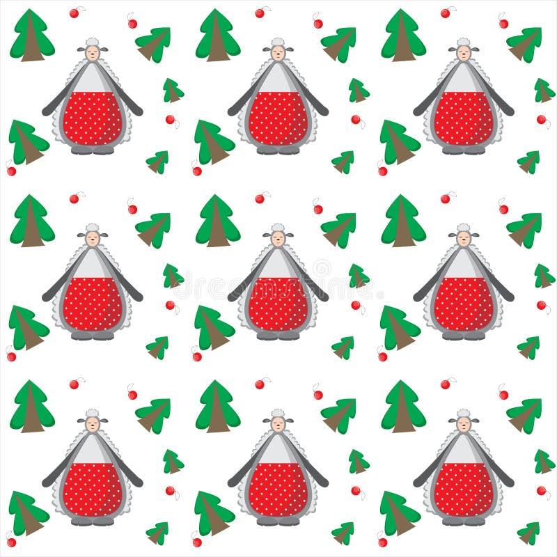 Το υπόβαθρο Χριστουγέννων, χορεύει αστεία πρόβατα με τα δέντρα απεικόνιση αποθεμάτων