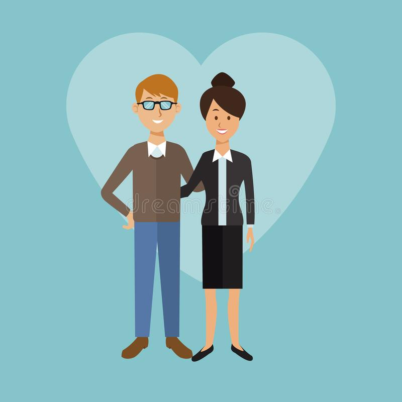 Το υπόβαθρο χρώματος με τη μορφή καρδιών του πλήρους ζεύγους σωμάτων ο άνδρας με τα γυαλιά και η εκτελεστική γυναίκα στο επίσημο  διανυσματική απεικόνιση