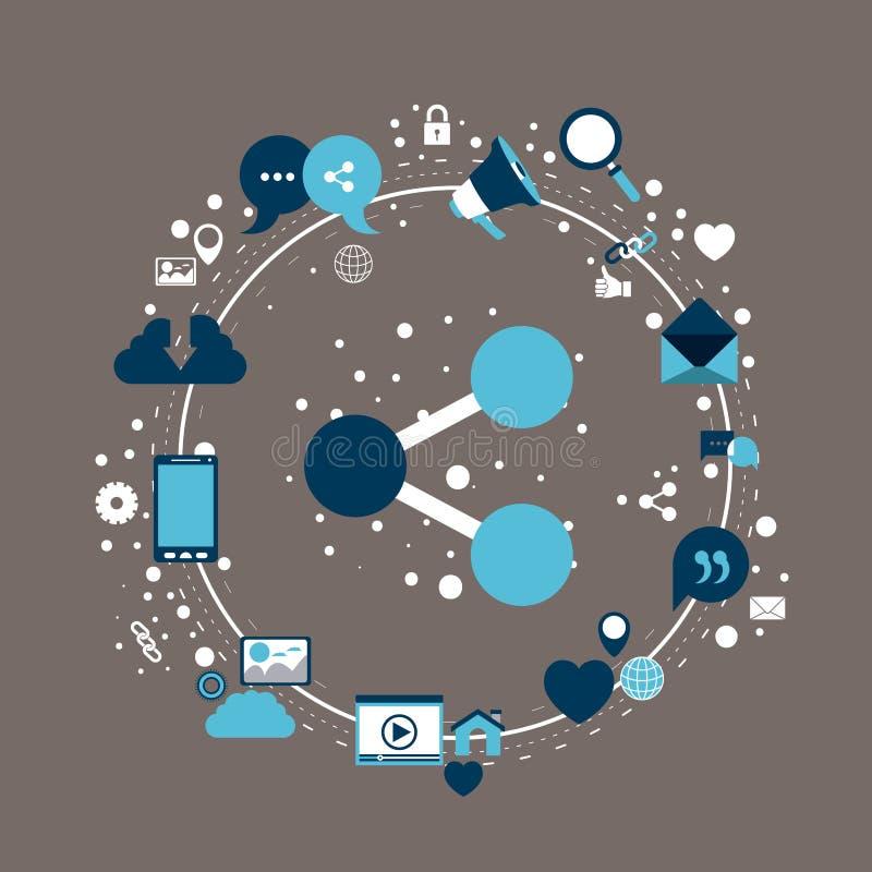 Το υπόβαθρο χρώματος του κυκλικού πλαισίου των εικονιδίων τεχνολογίας Διαδίκτυο και η κινηματογράφηση σε πρώτο πλάνο μοιράζονται  απεικόνιση αποθεμάτων