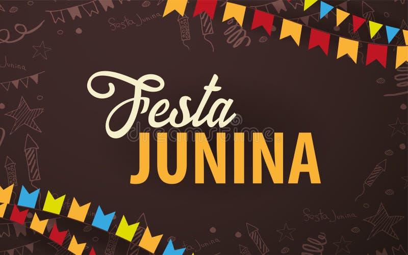 Το υπόβαθρο Junina Festa με το χέρι σύρει doodle τα στοιχεία και τις σημαίες κομμάτων Λατινοαμερικάνικες διακοπές της Βραζιλίας ή ελεύθερη απεικόνιση δικαιώματος