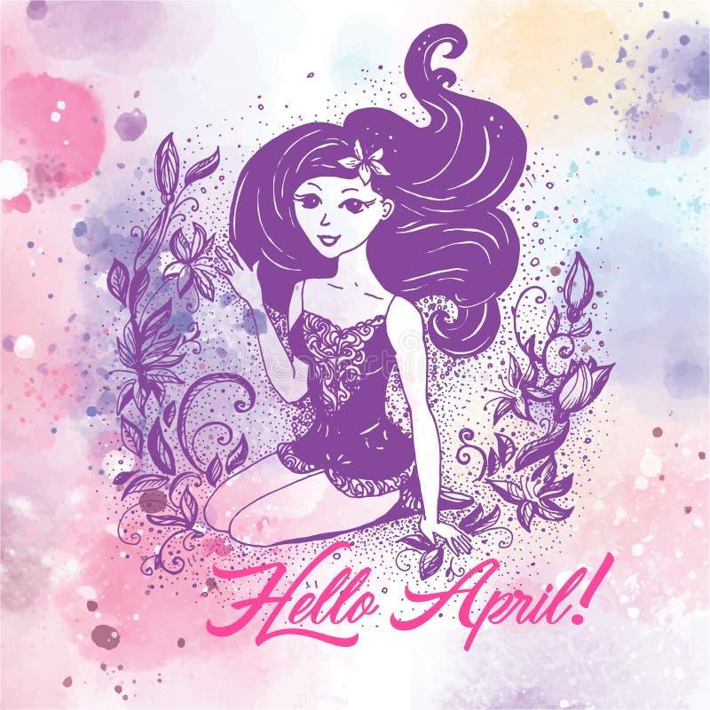 Το υπόβαθρο watercolor, κορίτσι μόδας διάνυσμα ελεύθερη απεικόνιση δικαιώματος