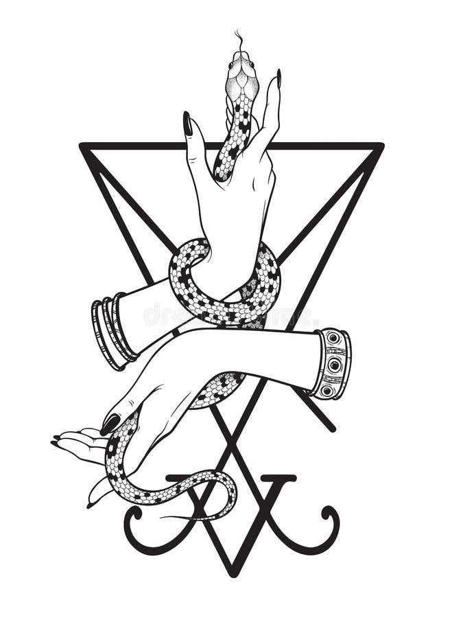 Το φίδι στο θηλυκό παραδίδει το sigil της τέχνης γραμμών Lucifer και της εργασίας σημείων Κομψή τυπωμένη ύλη de πέπλων δερματοστι ελεύθερη απεικόνιση δικαιώματος