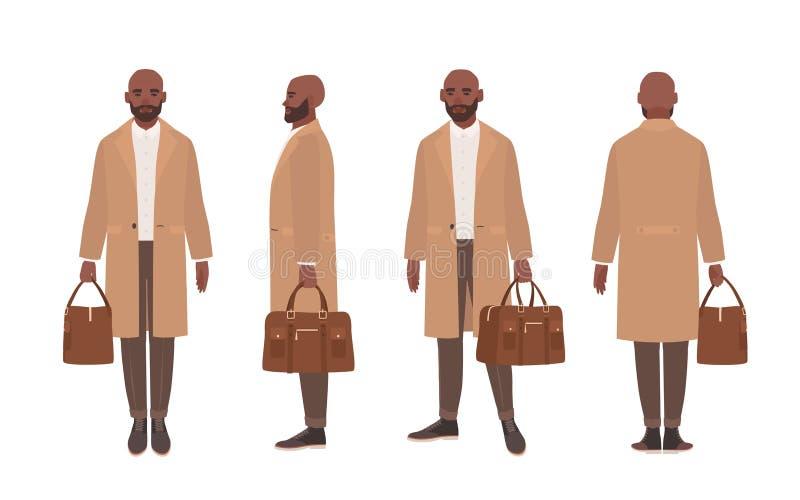 Το φαλακρό άτομο αφροαμερικάνων έντυσε στο κομψό παλτό ή outerwear τάφρων Χαρακτήρας κινουμένων σχεδίων που απομονώνεται αρσενικό ελεύθερη απεικόνιση δικαιώματος