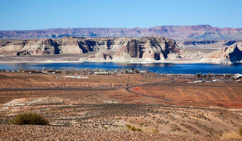 το φαράγγι κόλπων της Αριζόνα η μαρίνα λιμνών powell wahweap στοκ εικόνες