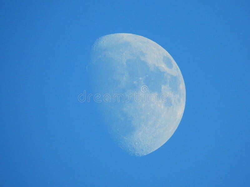 Το φεγγάρι ορατό στους σαφείς μπλε ουρανούς σε ένα ηλιόλουστο απόγευμα Δεκεμβρίου στο UK στοκ φωτογραφία με δικαίωμα ελεύθερης χρήσης