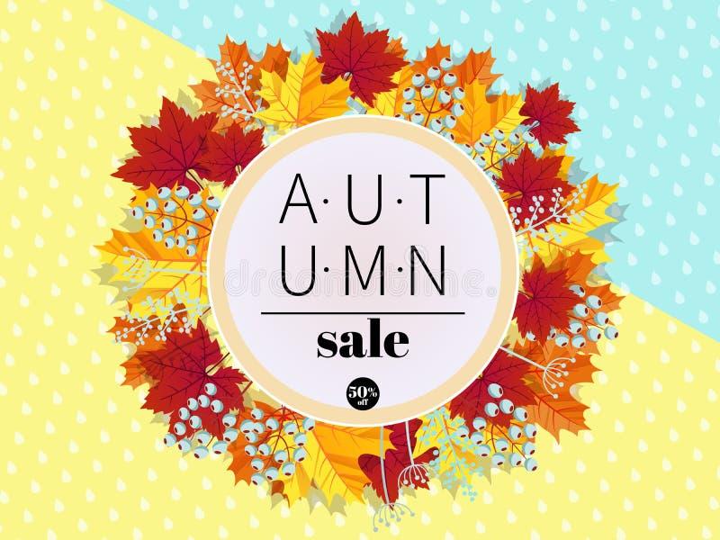 το φθινόπωρο αφήνει την κόκκινη λέξη πώλησης τρισδιάστατο τυποποιημένο πολύχρωμο στεφάνι φύλλων Στρογγυλό πλαίσιο φύλλων και μούρ διανυσματική απεικόνιση