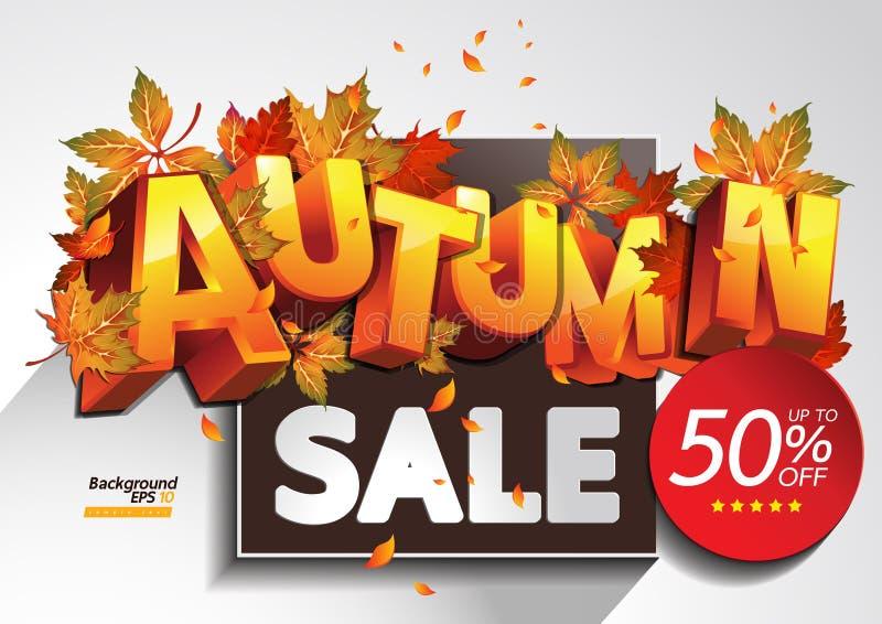 το φθινόπωρο αφήνει την κόκκινη λέξη πώλησης απεικόνιση αποθεμάτων