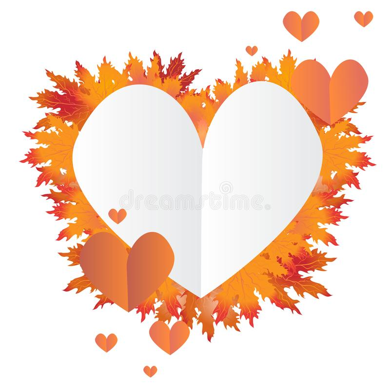 Το φθινόπωρο βγάζει φύλλα την καρδιά ελεύθερη απεικόνιση δικαιώματος
