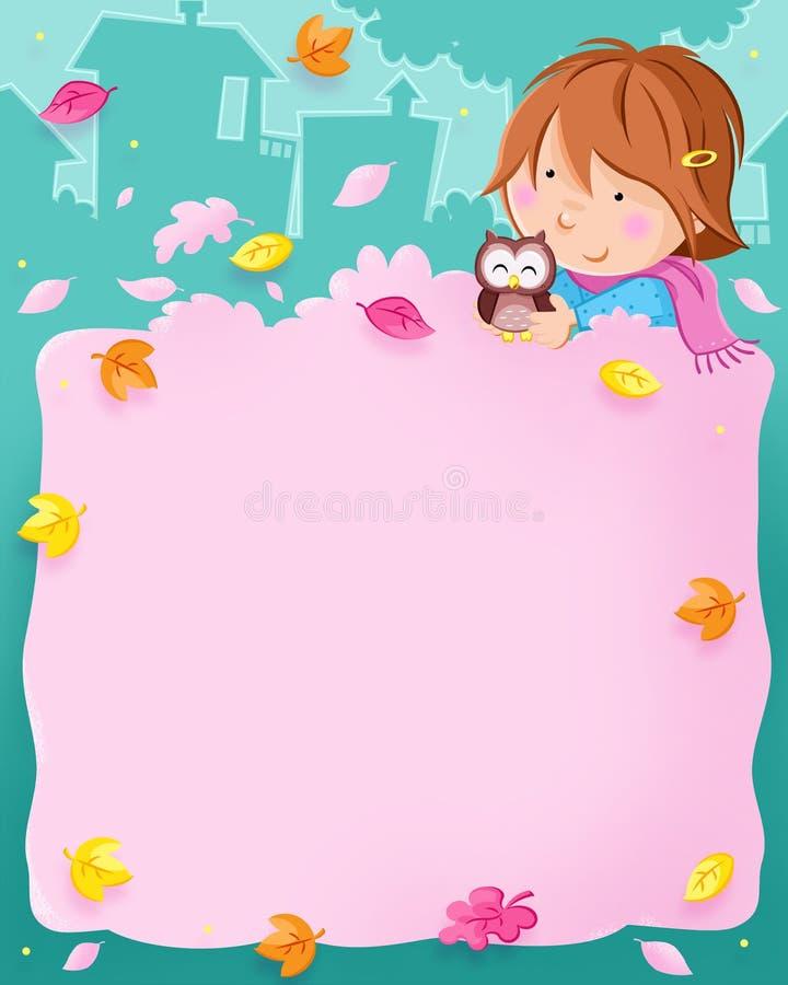 Το φθινόπωρο είναι εδώ - ζωηρόχρωμα φύλλα, καλό μικρό κορίτσι και χαριτωμένη κουκουβάγια διανυσματική απεικόνιση