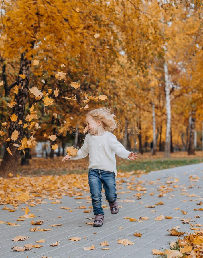το φθινόπωρο πάρκων κοριτσιών ρίχνει επάνω στα χρυσά πεσμένα φύλλα στοκ εικόνες